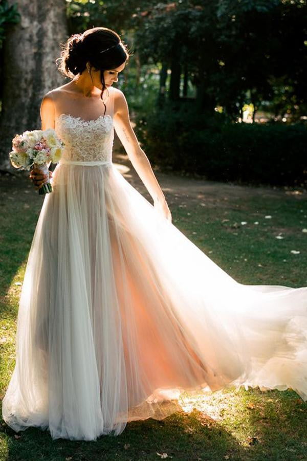 White A Line Sweep Train Sheer Neck Layers Tulle Appliques Wedding Gown,Wedding Dress W194