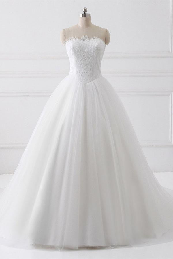 White A Line Court Train Strapless Sleeveless Lace Up Wedding Dress,Wedding Gowns W286