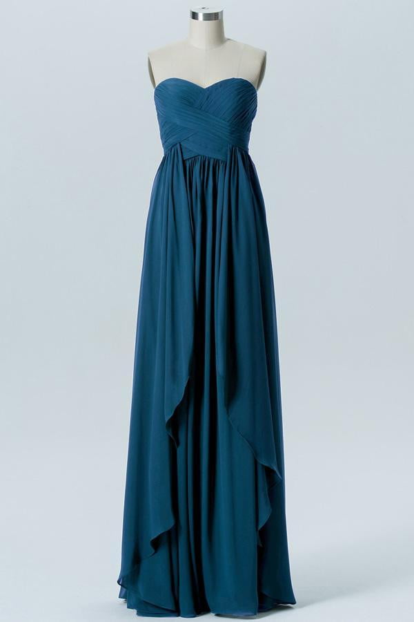 Winter Teal A Line Floor Length Sweetheart Strapless Mid Back Bridesmaid Dresses B156