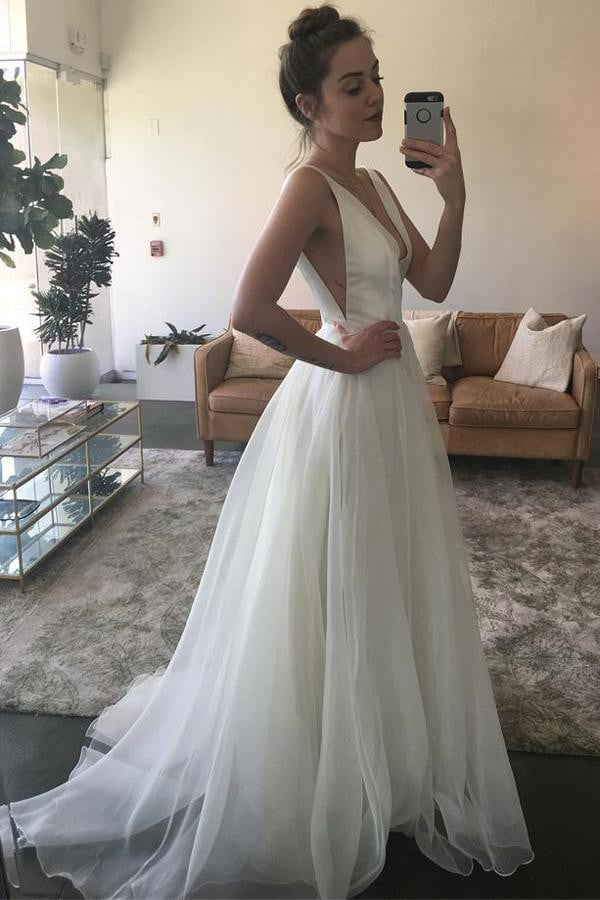White A Line Sweep Train Deep V Neck Sleeveless Wedding Gown,Beach Wedding Dress W153