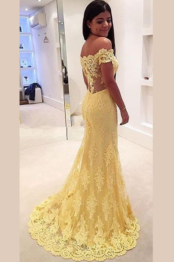 Yellow Trumpet Sweep Train Off Shoulder Sheer Back Appliques Evening/Prom Dress P69