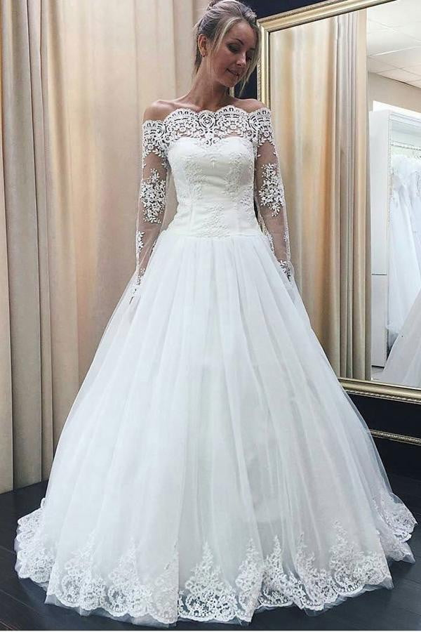 White Ball Gown Floor Length Off Shoulder Long Sleeve Appliques Wedding Dress,Wedding Gowns W290