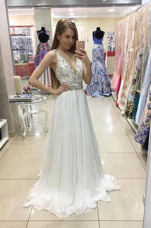 White A Line Sweep Train Deep V Neck Sleeveless Beading Prom Dress,Wedding Dress P273