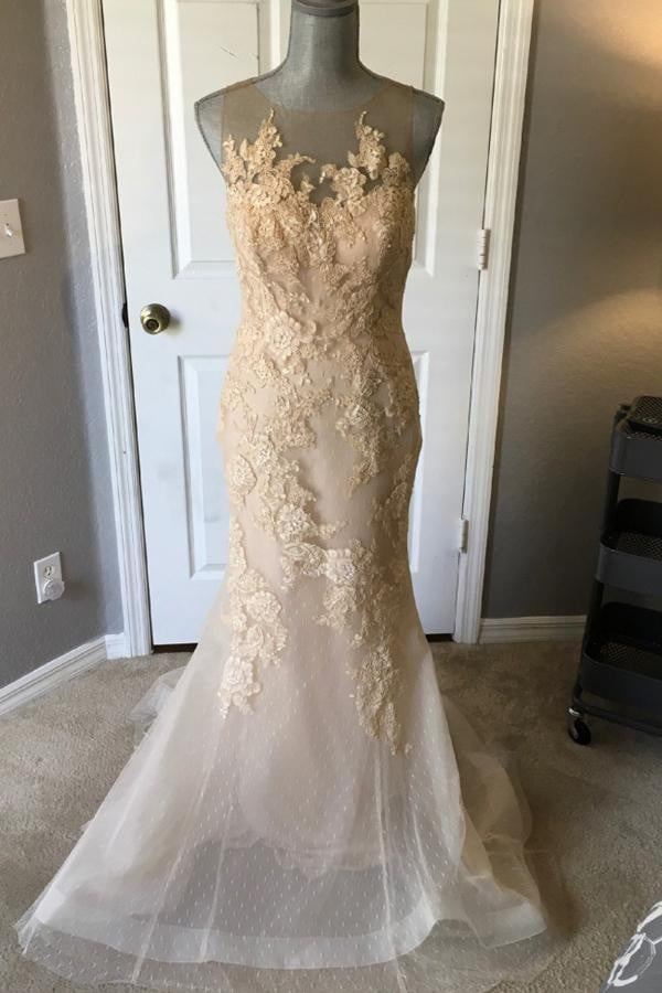 Trumpet Court Train Sheer Neck Sleeveless Appliques Wedding Gown,Wedding Dress W174