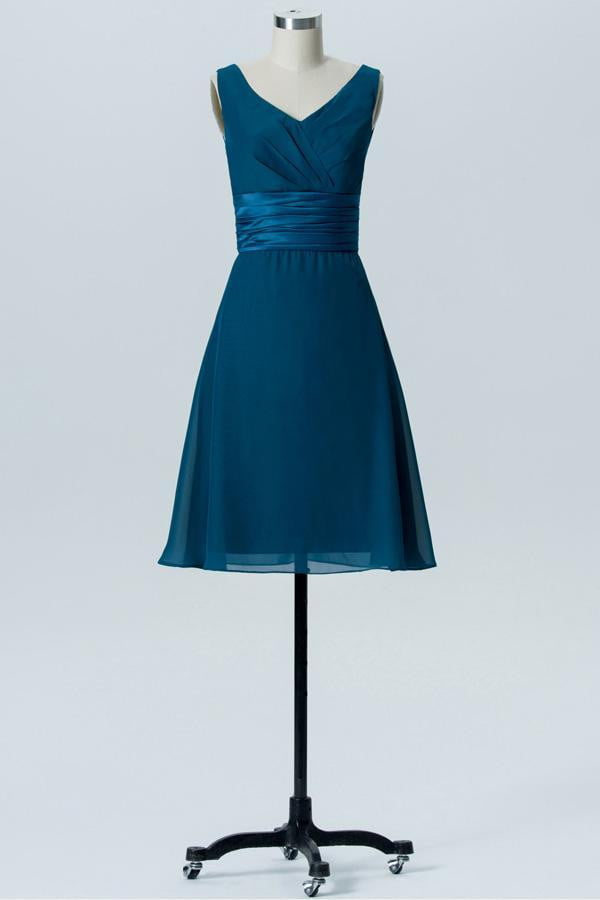Winter Teal A Line Knee Length V Neck Sleeveless Bridesmaid Dresses B198