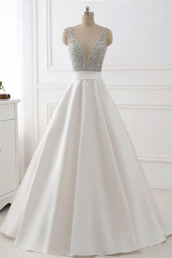 White A Line Brush Train Deep V Neck Sleeveless Beading Prom Dress,Party Dress P483