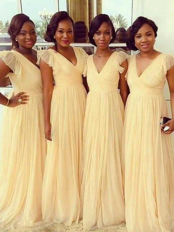 Simple V Neck Cap Sleeves Chiffon Bridesmaid Dresses A Line Prom Dresses