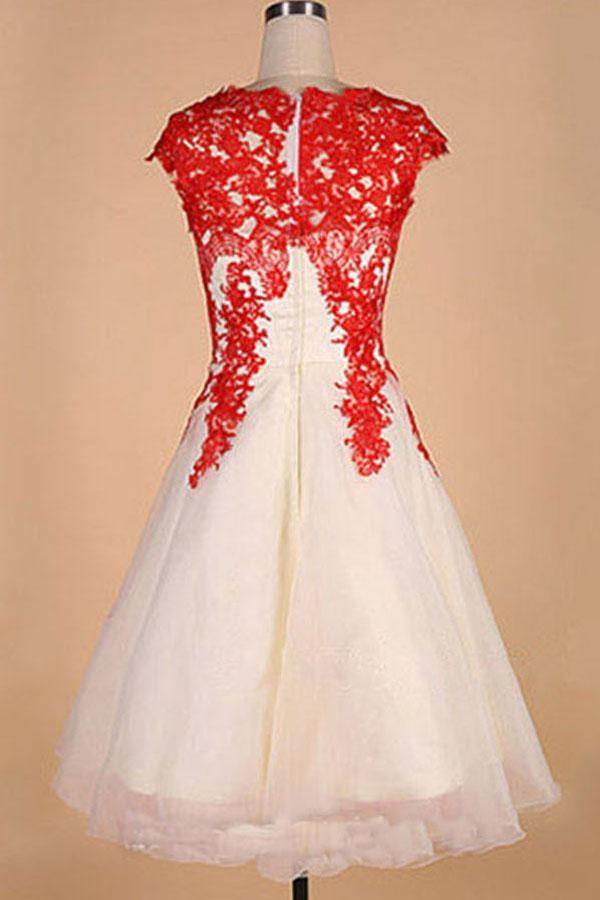 White Boat Capped Sleeve Homecoming Dresses,Lace Up Blue Appliques Short Prom Dress HCD125