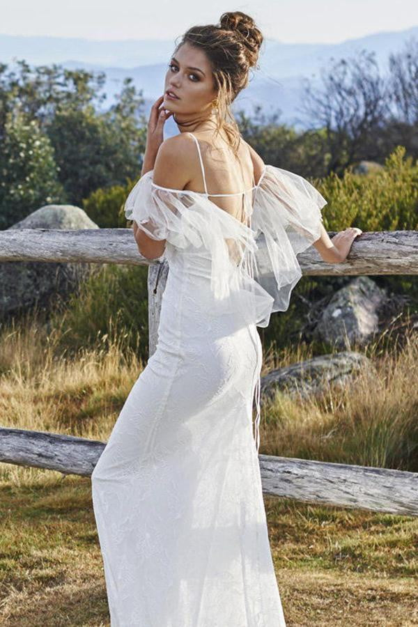 White Sheath Court Train Sleeveless Tulle Wedding Dress,Beach Wedding Dress W210