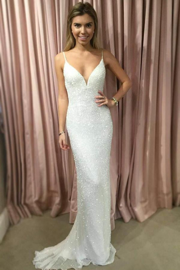 White Sheath Brush Train Sweetheart Spaghetti Sleeveless Sparkle Prom Dress,Party Dress P436