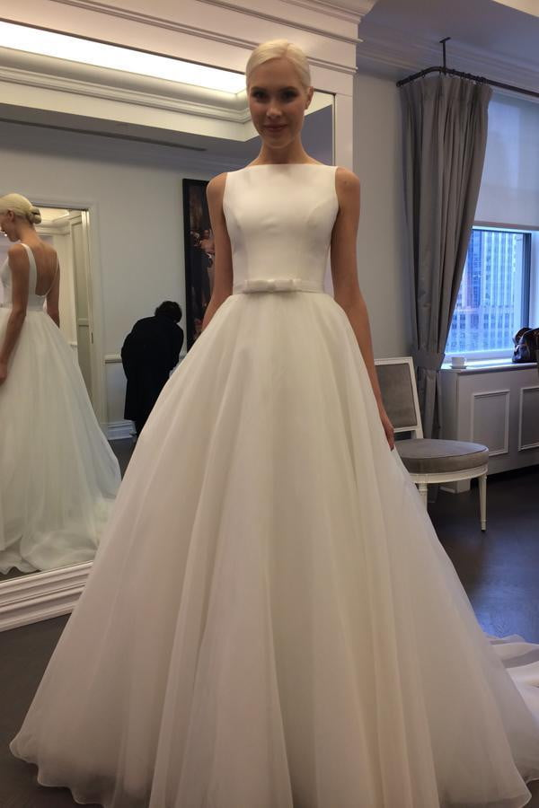 White A Line Court Train Sleeveless Backless Layers Tulle Wedding Gown,Wedding Dress W165