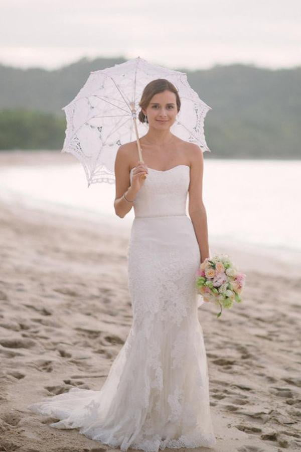 White Sheath Court Train Sweetheart Sleeveless Layers Lace Wedding Dress,Wedding Gowns W293