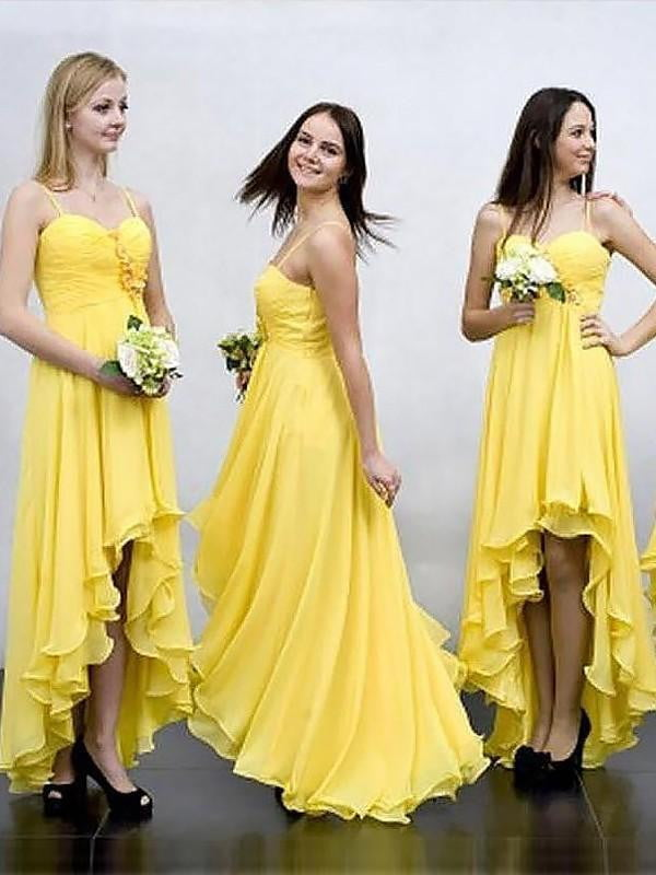Yellow Spaghetti Straps High Low Prom Dresses A Line Bridesmaid Dresses
