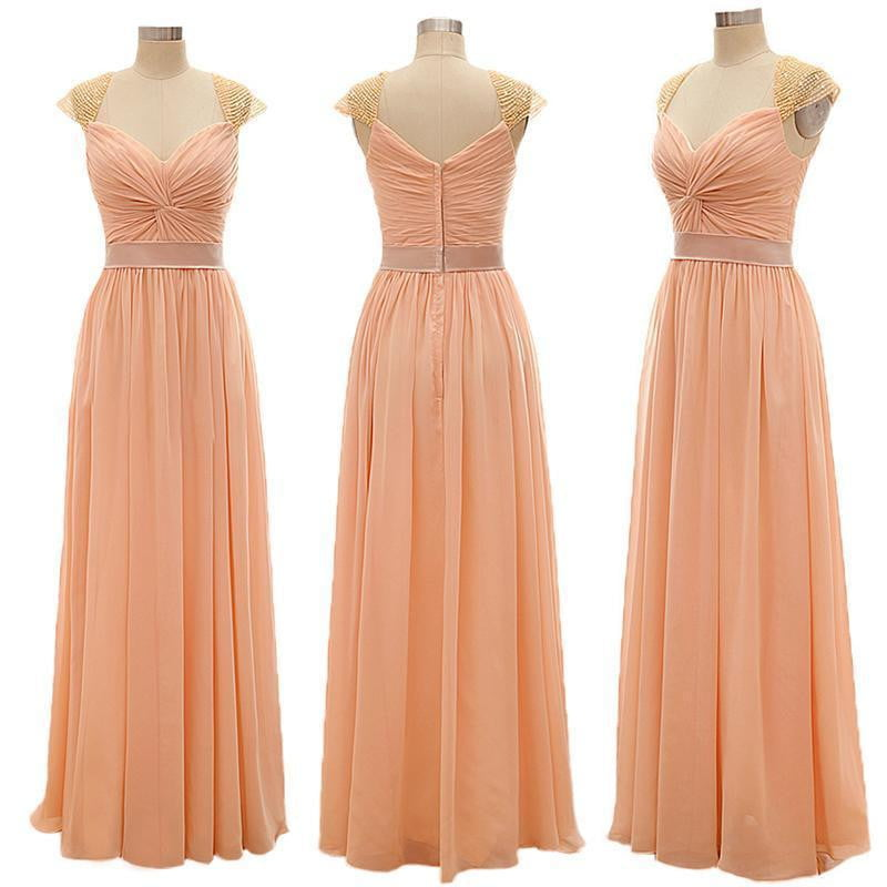 Sweetheart Cap Sleeves Chiffon Prom Dresses Cheap Bridesmaid Dresses With Beaded