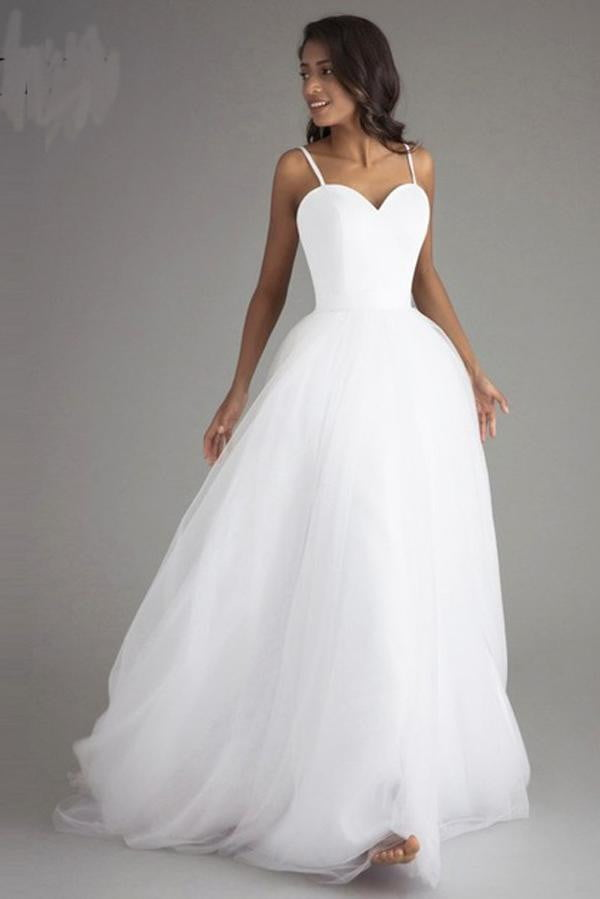 White A Line Sweep Train Sweetheart Spaghetti Layers Tulle Wedding Gown,Wedding Dress W196