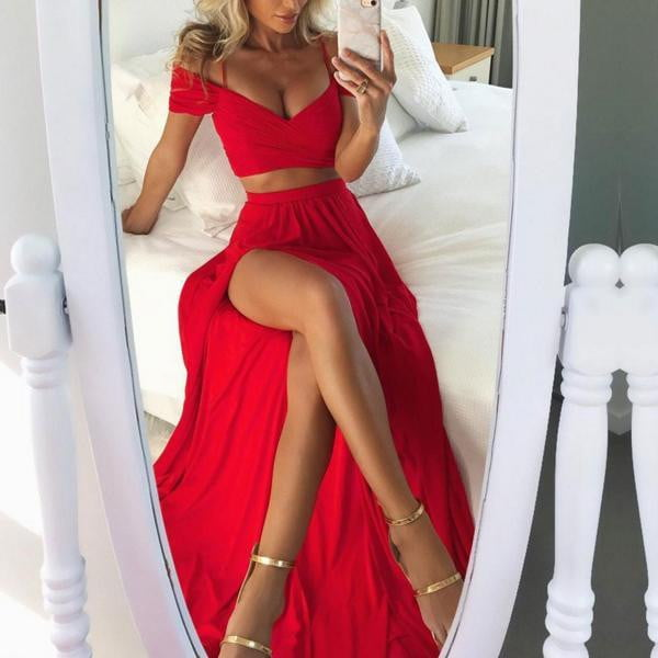Two Piece Bright Red Off Shoulder Spaghetti Straps High Side Split Prom Dresses,PD0126