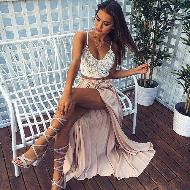 Two Piece Spaghetti Straps Split Side V Neck A Line Lace Prom Dresses P952