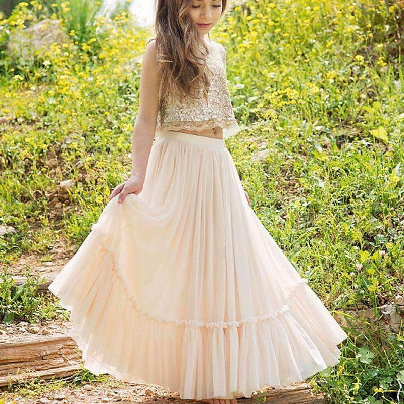 2 Pieces Sequin Top Blush Pink Chiffon Skirt Flower Girl Dresses, Junior Bridesmaid Dresses, FG059