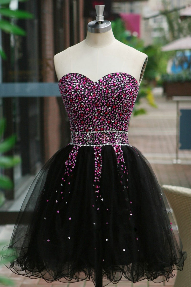 2020 Sweetheart Homecoming Dresses A Line Tulle With Beading Short/Mini Dance dresses
