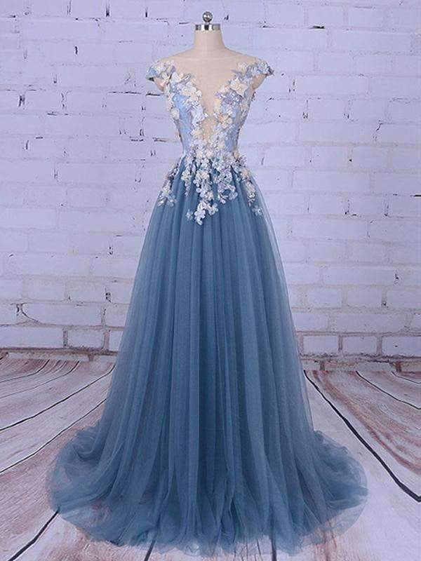 2019 Popular Handmade Flowers V-neck A-line Prom Gown Dresses,PD00046