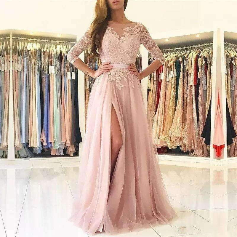 2019 A-line 3/4 Sleeves Tulle Appliques Lace Slit Sexy Islamic Dubai Saudi Arabic Long Evening Gown