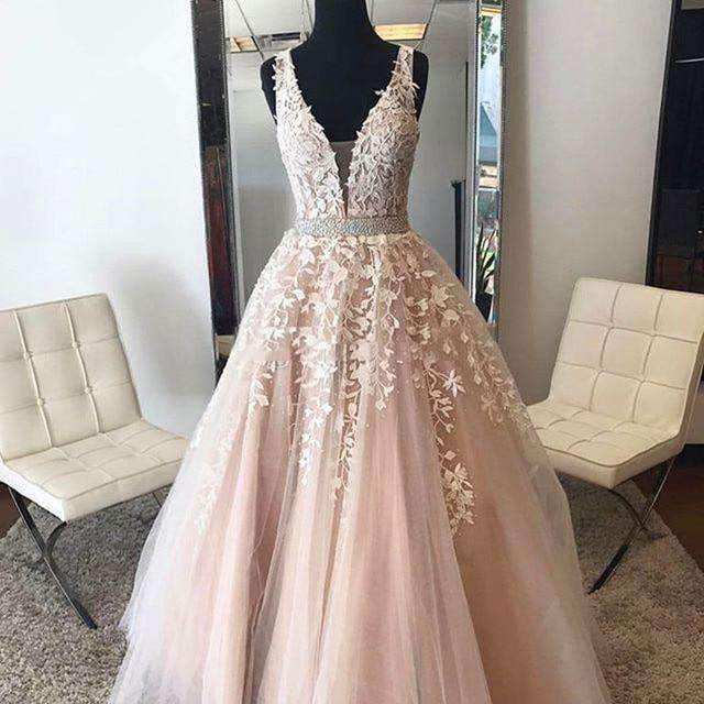 2019 A-line Deep V-neck Tulle Lace Beaded Islamic Dubai Saudi Arabic Long Evening Gown Prom Dress