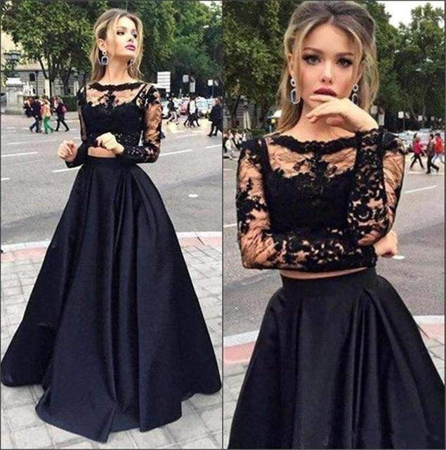 2019 A-line Long Sleeves Lace Two Pieces Long Prom Evening Gown