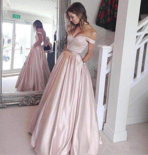 2019 A-line Off The Shoulder Satin Beaded Formal Islamic Dubai Saudi Arabic Long Evening Gown