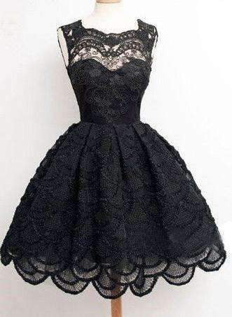 2019 Black lace simple modest vintage freshman homecoming dresses, BD00129