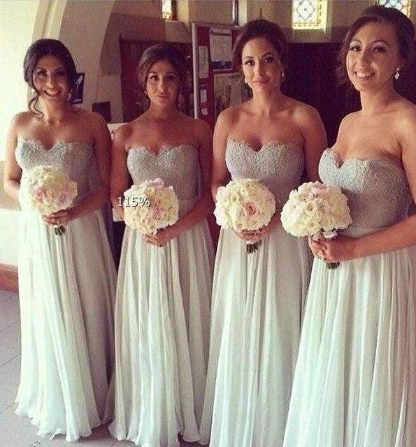 2019 Cheap Bridesmaid Dresses A-line Sweetheart Chiffon Lace Beaded Long Wedding Party Dresses For Women