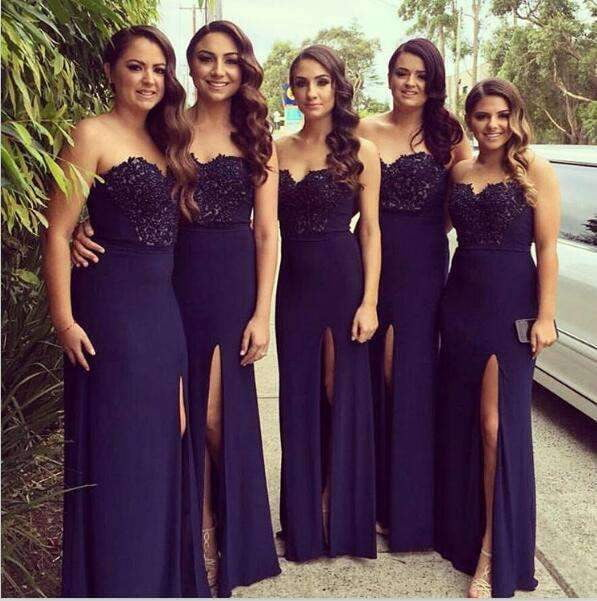 2019 Cheap Bridesmaid Dresses A-line Sweetheart Slit Lace Long Wedding Party Dresses For Women