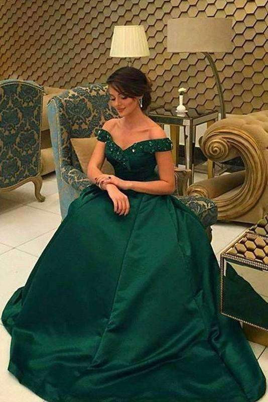 2019 Elegant Green Off-the-Shoulder Ball Gown Prom Dresses, Formal Party Dress P589