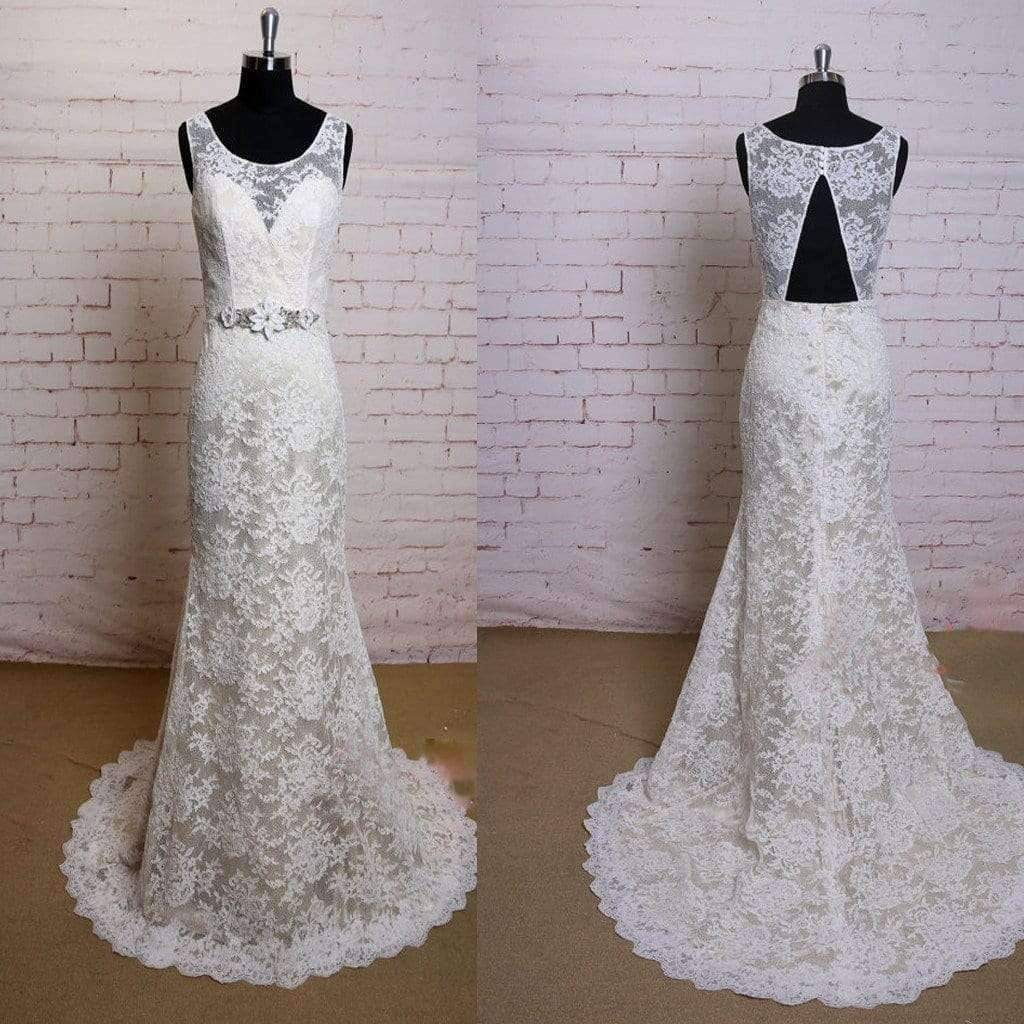 2019 Fashion Lace Ivory Appliques Elegant Open Back Vintage Princess Mermaid Bridal Gown Wedding Dresses, WD0081