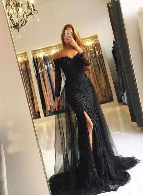 2019 Gray Muslim Evening Dresses Mermaid 3/4 Sleeves Lace Beaded Long Evening Gown