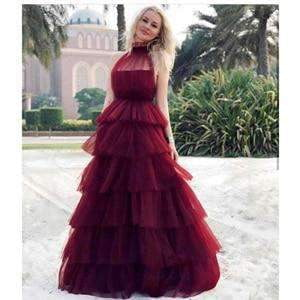 2019 High Neck Sleeveless Puffy Formal Dresses Custom Made Long Party Gowns