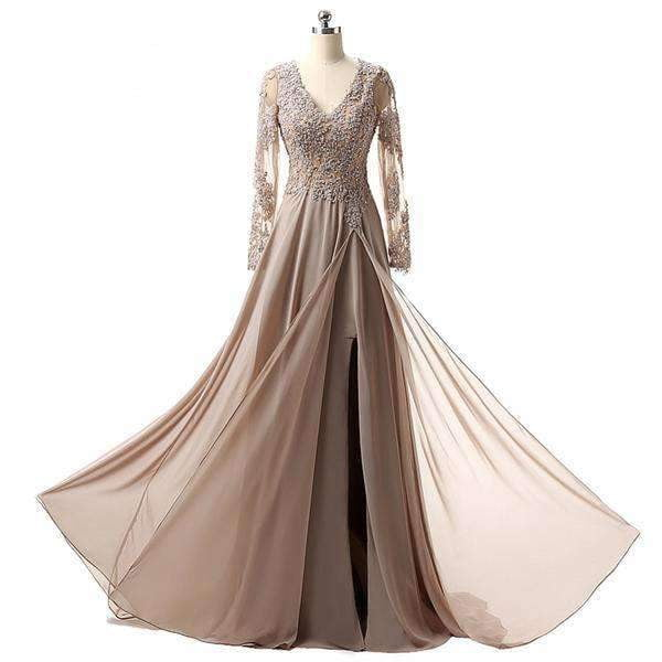 2020 Hot Sale Charming V neck A line Long sleeve Chiffon Applique Formal Mother Of The Bride Dresses