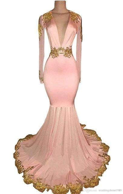 2019 Long Sleeves Gold Appliques Keyhole Back Party Gown Formal Evening Dress