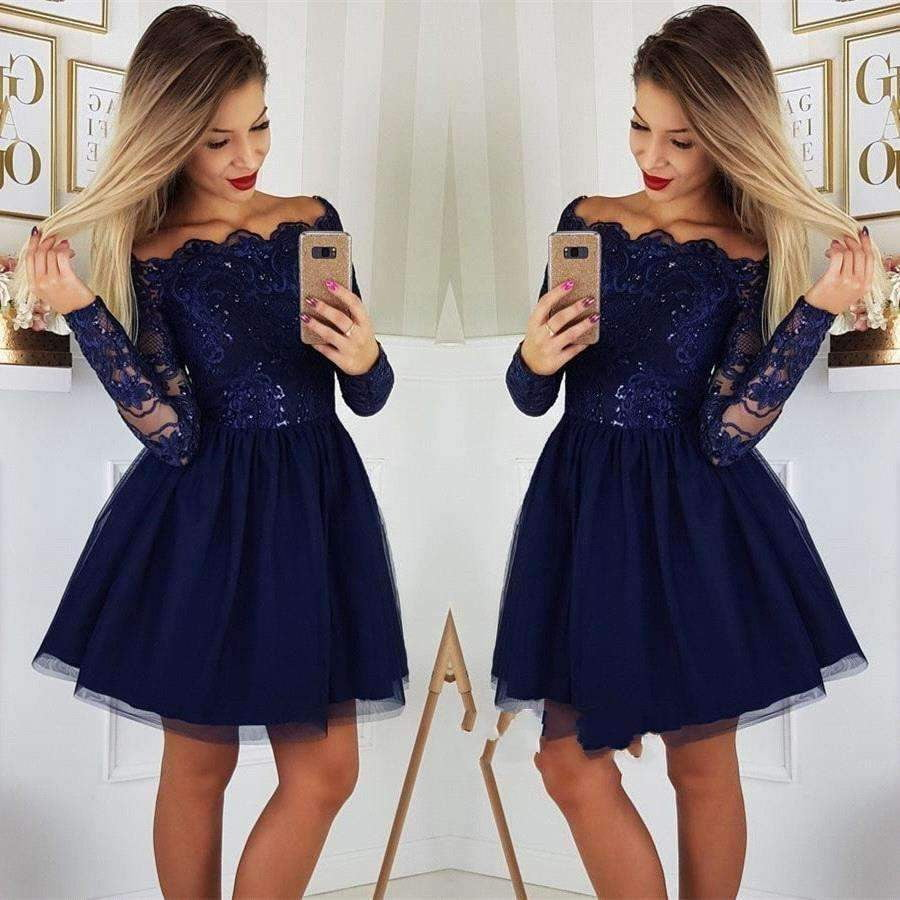 2019 Mini Length Lace Appliques Girls Long Sleeves Homecoming Dresses