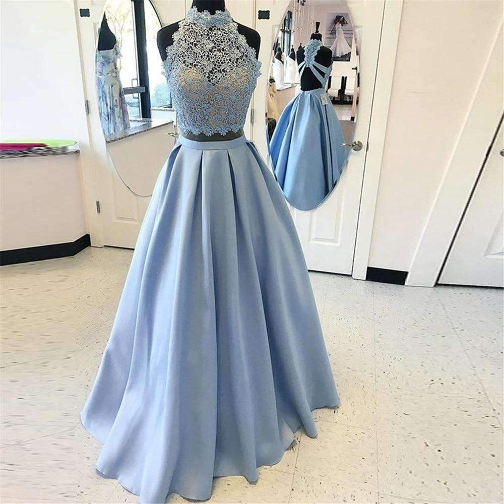 2020 Mint Blue 2 Piece Prom Dresses High Neck Lace Top Satin Cut Out Long Formal Dress
