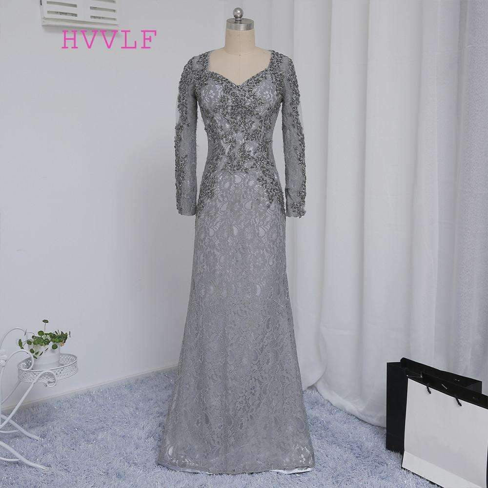 2019 Mother Of The Bride Dresses Mermaid V-neck Long Sleeves Silver Lace Beaded Mother Dresses