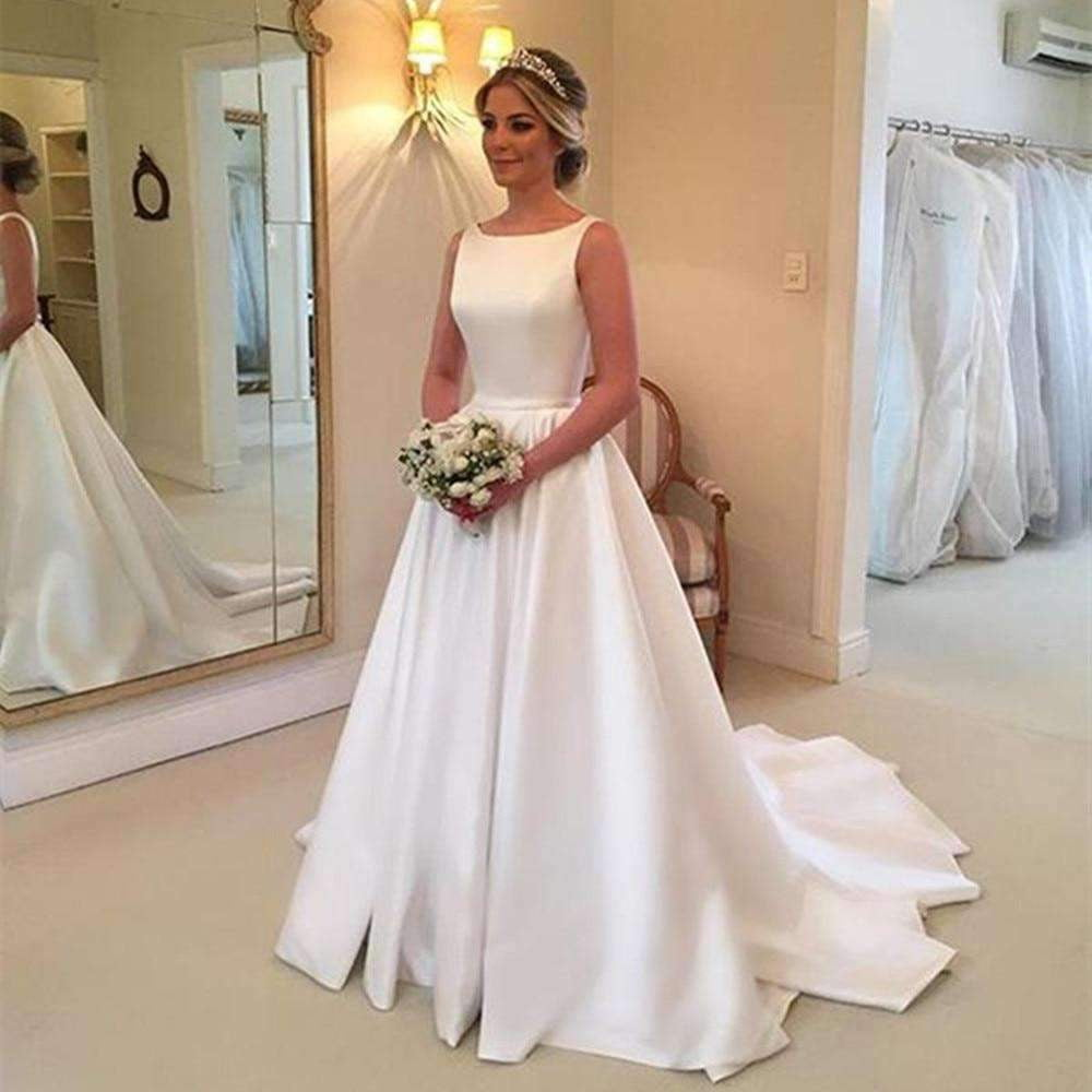 2019 New A Line Sweep Train Backless Simple Bridal Dress