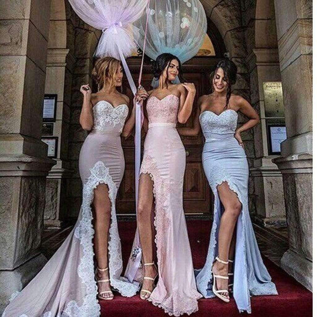 2019 New Arrival Strapless Unique Design Mermaid Sexy With Slip Side Long Bridesmaid Dresses.  BD0301