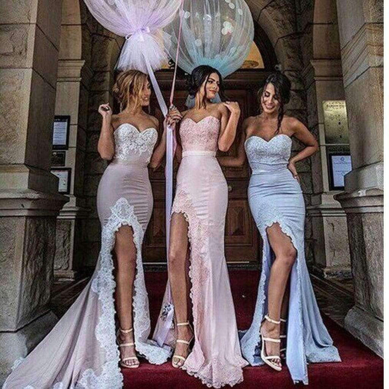 2020 New Arrival Strapless Unique Design Mermaid Sexy With Slip Side Long Bridesmaid Dresses.  BD0301