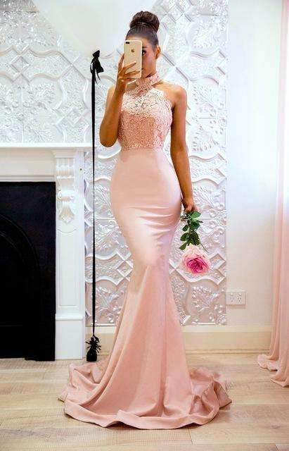 2019 New Fashion Mermaid Halter Off Shoulder Pink Prom Dresses