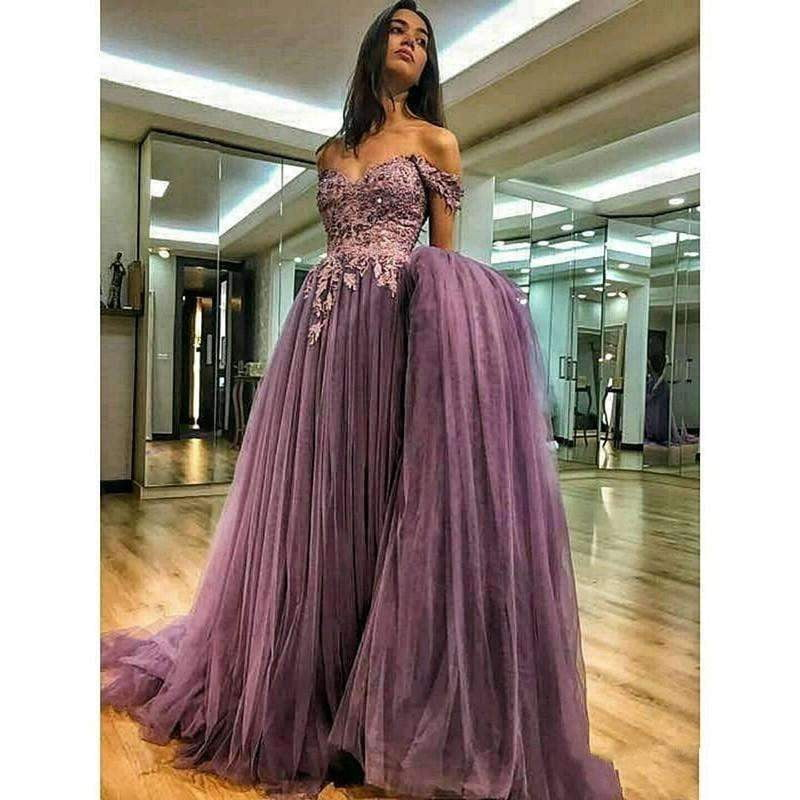 2019 Off The Shoulder A-line Tulle Lace Pearls Forma Long Evening Gown