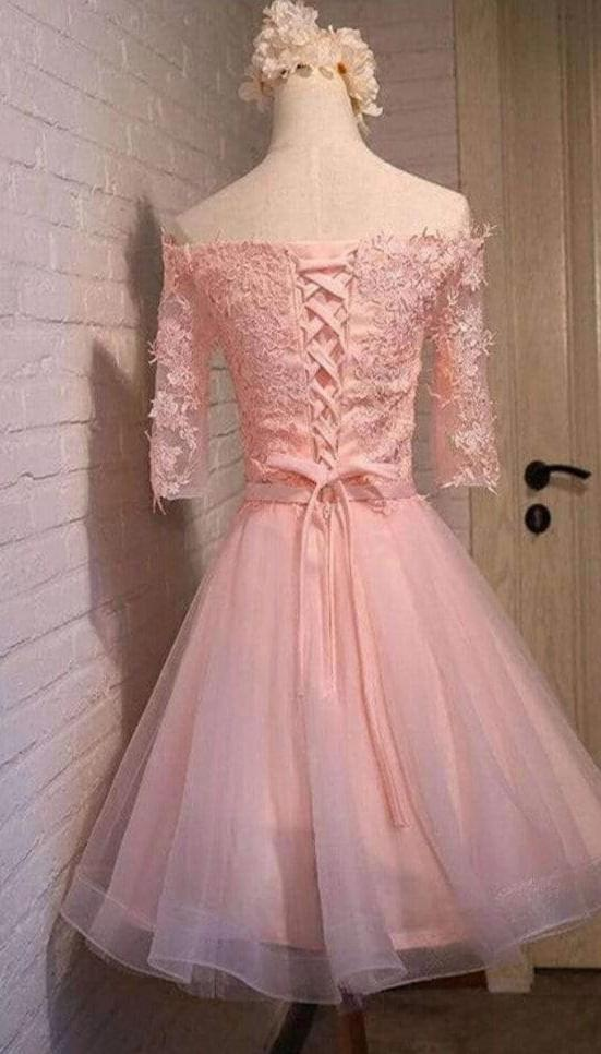 2019 pink lace off shoulder with half sleeve cute freshman graduation homecoming dresses,BD00125