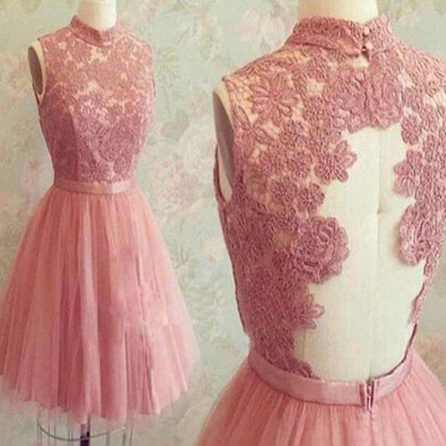 2020 popular dark pink lace high neck unique style charming freshman homecoming prom gown dress,BD0089