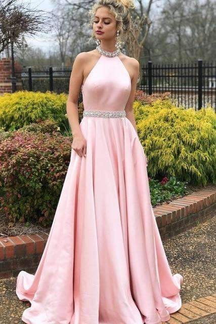 2019 Prom Dresses Long Elegant A Line Halter Beaded Pink Formal Party Dress