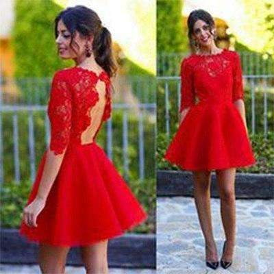2019 Simple Red Lace Appliques Half Sleeve Open Back Party Dress Hot Sale