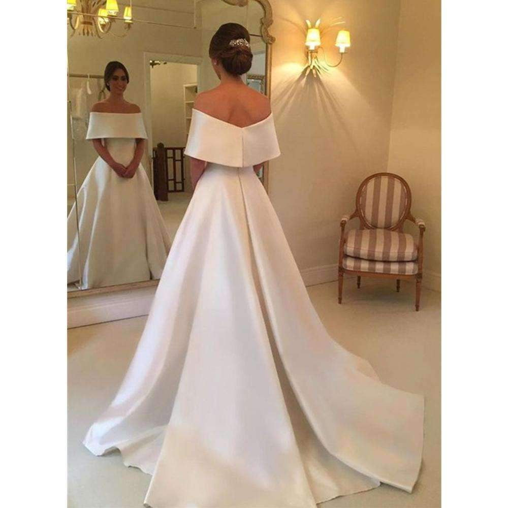 2019 Simple White Satin Wedding Dresses Boat Neck Off The Shoulder A Line Bridal Dress